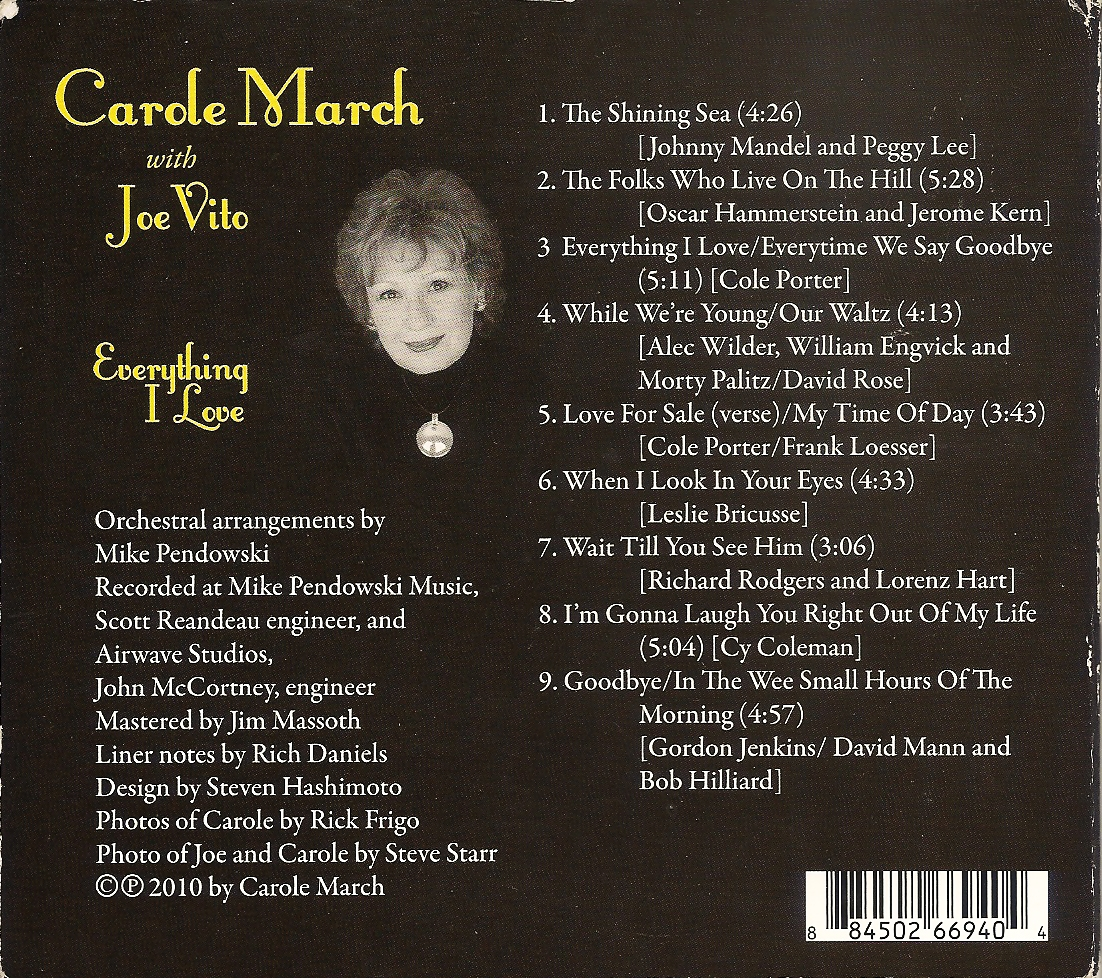 Carole March with Joe Vito - Everything I Love - Back Cover Image